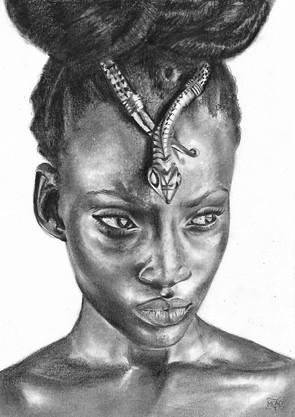 """PORTRAIT """"Femme afro coiffure ornement"""" / 2020"""