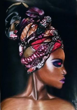 """PORTRAIT VENDU """"Femme afro avec Maré tèt"""" /2020"""