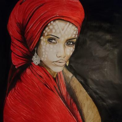 Portrait | Femme noir voile rouge