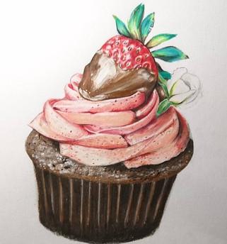 Cupcake et sa fraise chocolatée