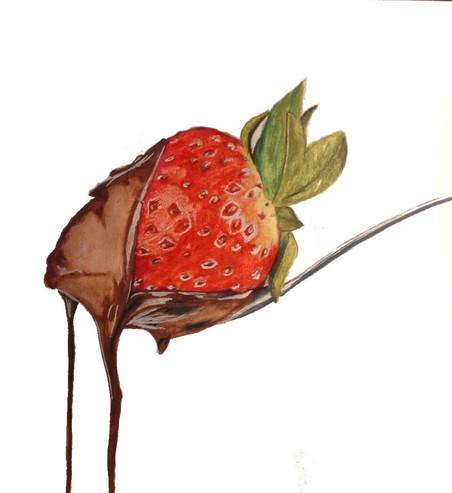 Dessin | Fraise au chocolat à la cuillère