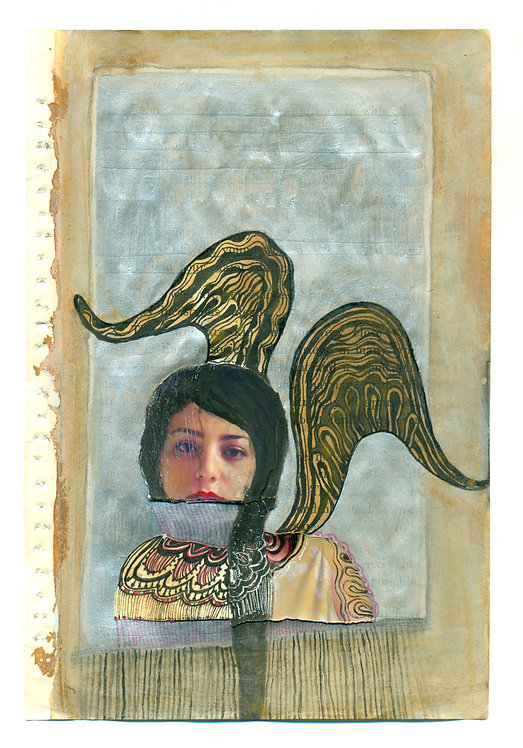 Ideal-Ego | Fatemeh Takht Keshian |  Mixed Media on Book pages | 12.5 * 19.5 cm.