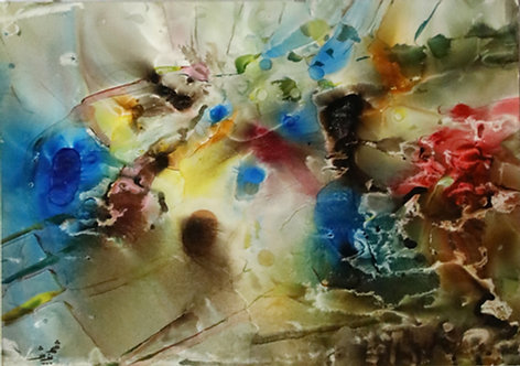 Shahnoosh Amiryeganeh  Explosion,2008  Water colour & ink on cardboard   37x27