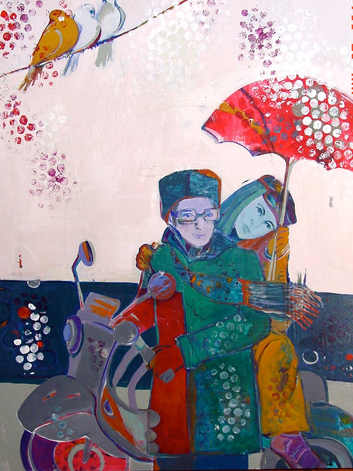 An Umbrella for One| Mojan Mazaffari | Mixed media on canvas | 121.92x172.72 cm