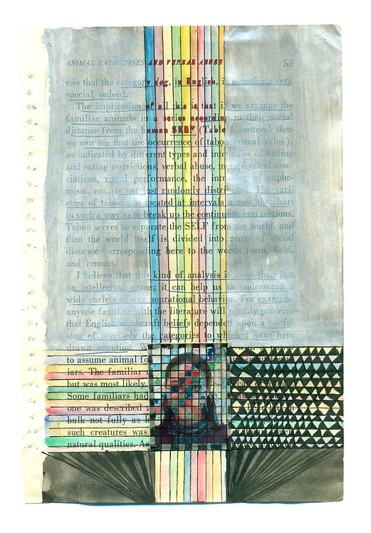 Ideal-Ego | Fatemeh Takht Keshian |  Mixed Media on Book pages | 12.5 * 19.5 cm