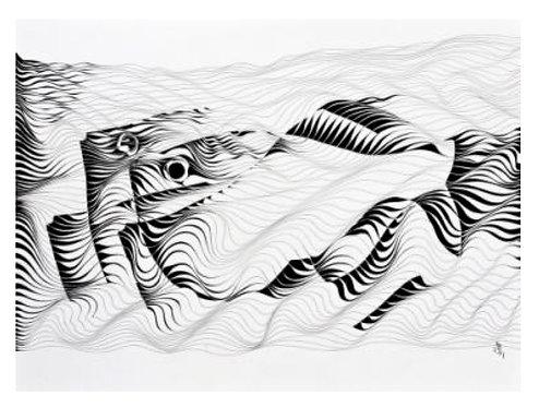MOTION II   Behrouz Nournia   Ink on arch paper   22x 30 inch