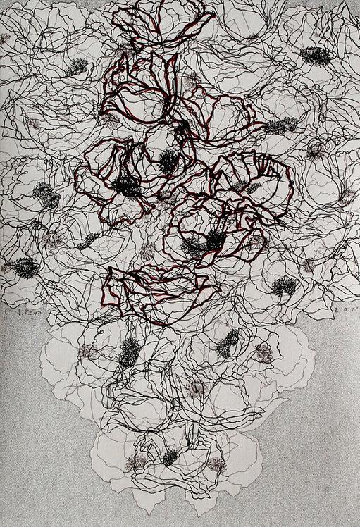 Roya Najafzadeh Asl   Untitled 2017   Fine liner & pencil on cardboard  34x49cm