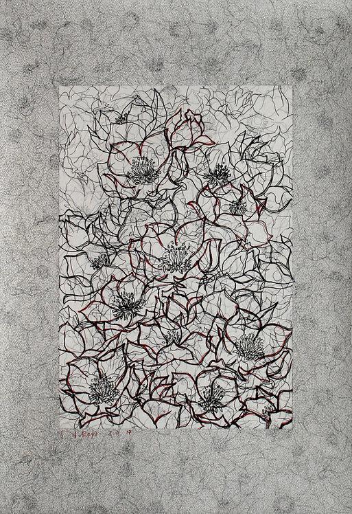 Roya Najafzadeh Asl | Untitled 2017 | Fine liner & pencil on cardboard| 34x49cm
