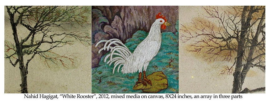 White Rooster | Nahid Hagigat | Mixed media on canvas | 8x24 inch, an array in 3