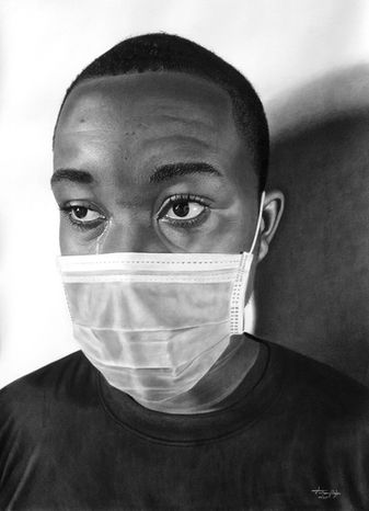 Anthony Kizito | While I Breathe, I Hope | Charcoal on paper | 46x61cm
