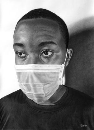 Anthony Kizito   While I Breathe, I Hope   Charcoal on paper   46x61cm