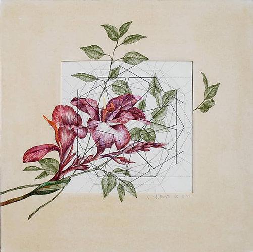 Roya Najafzadeh Asl   Geometry of Nature   Mixed media on cardboard   42x42cm