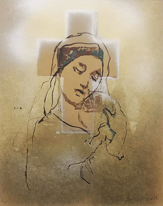 Holy Presence | Mojan Mazaffari | Acrylic on Paper | 21x28 cm