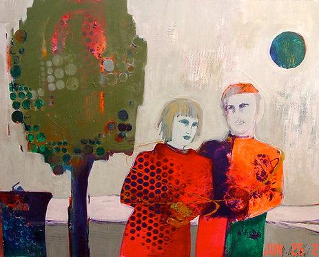 In the Park | Mojan Mazaffari | Mixed media on canvas | 121.92x172.72cm