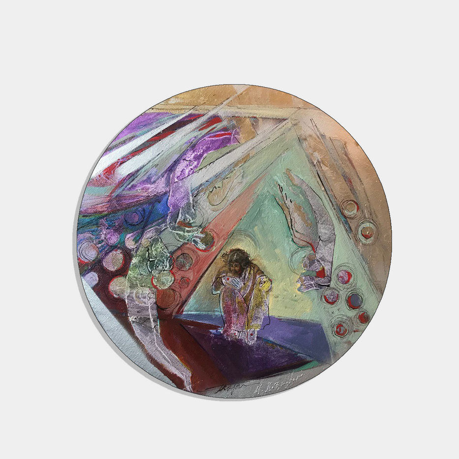 Mojan Mozaffari, Holy Presence#10, 2019, Acrylic on canvas, Diameter 40 cm