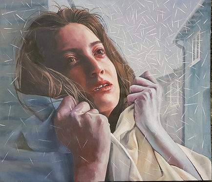 Impotence of concrete hands, 2019 | Vishka Sabetazar | Oil on Canvas | 100×100cm