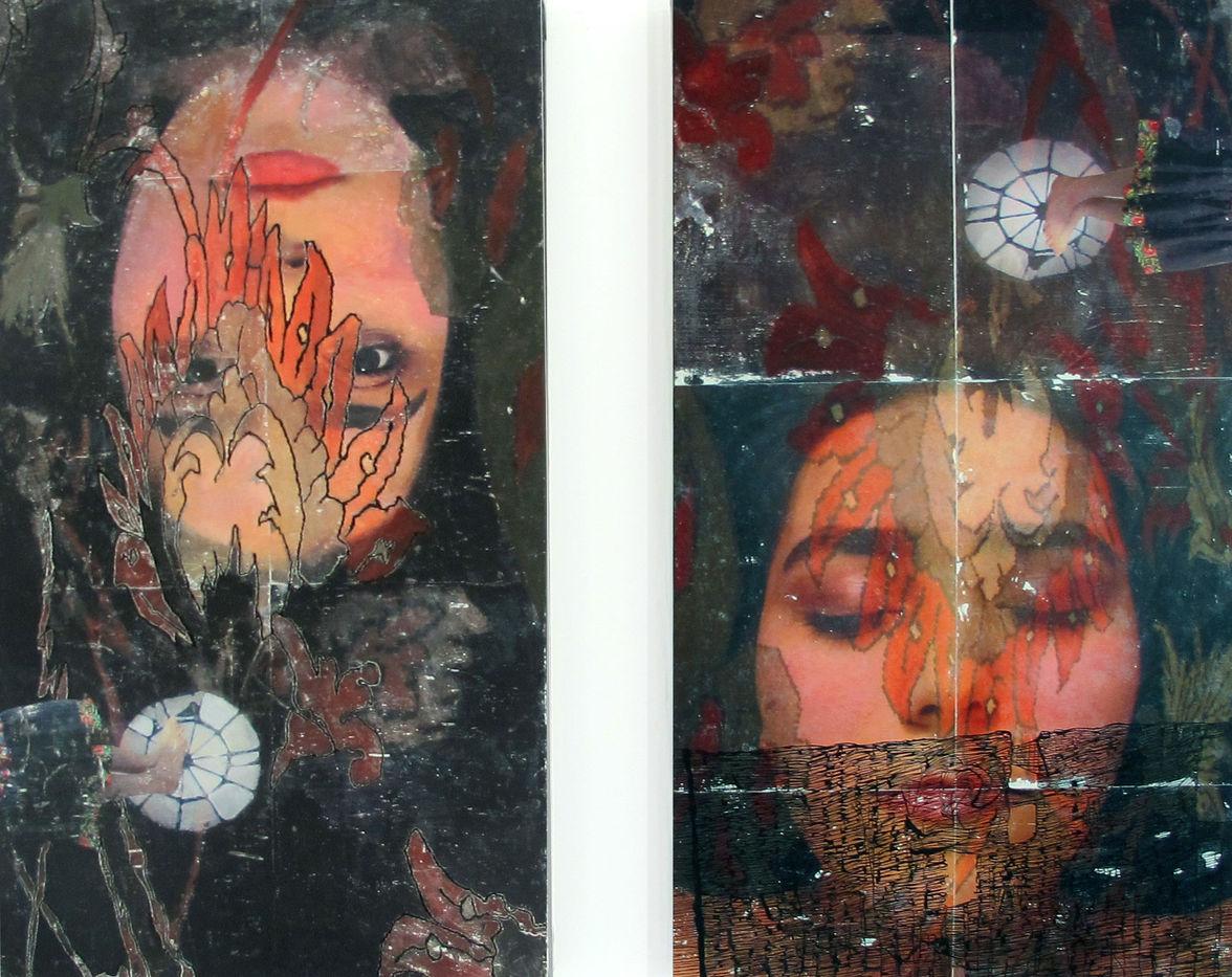 Fatemeh Takht Keshian | Negotiating 1| Mixed media on canvas | 102x56 cm