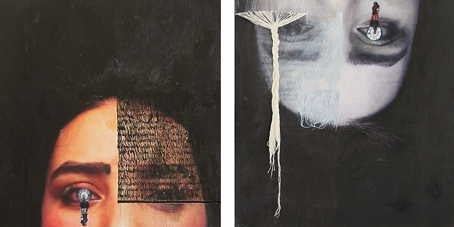 Negotiating 3 | Fatemeh Takht Keshian | Mixed media on canvas | 48 x 48 cm, each