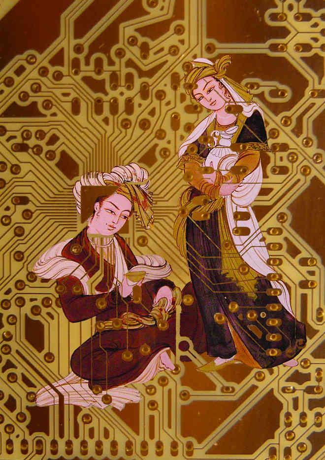 Reza Rafiei Rad, Love in the PBC, 2018, Digital painting printed on canvas