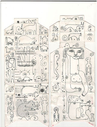 Isheanesu Dondo   Ngano/Quarantine Folklore   Drawing on paper   22,5x9,5cm