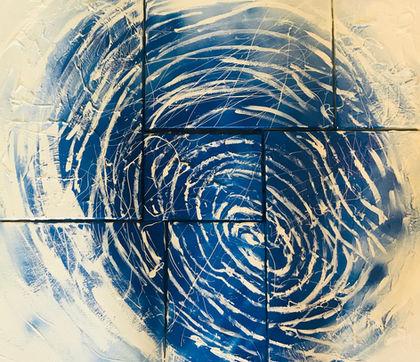 Alexia Koudigkeli   Earth's fingerprint   Acrylic on canvases, 7-piece painting