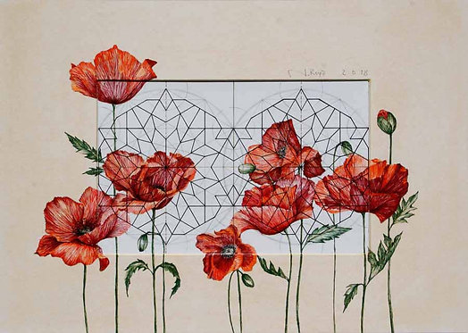 Roya Najafzadeh Asl | Geometry of Nature | Mixed media on cardboard |35x48cm