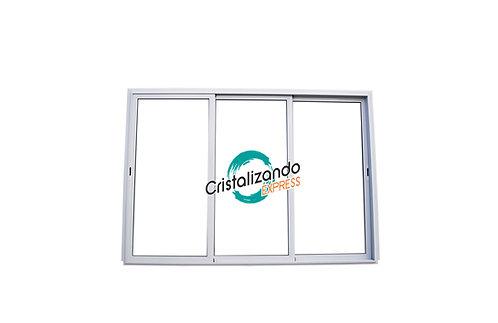 Puerta ventana corrediza de 3 hojas (L45) sin travesaño Cristal Laminado 3+3 mm