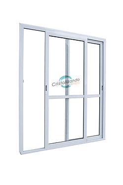 Puerta ventana corrediza de 2 hojas con travesaño (L45) Float 4mm