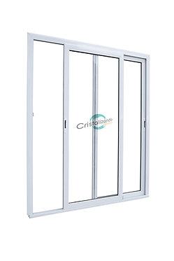 Puerta ventana corrediza de 2 hojas sin travesaño (L45) Cristal Laminado 3+3 mm
