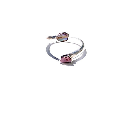 Sterling Silver Soft Pink Abalone and Shell Ring / adjustable size 7