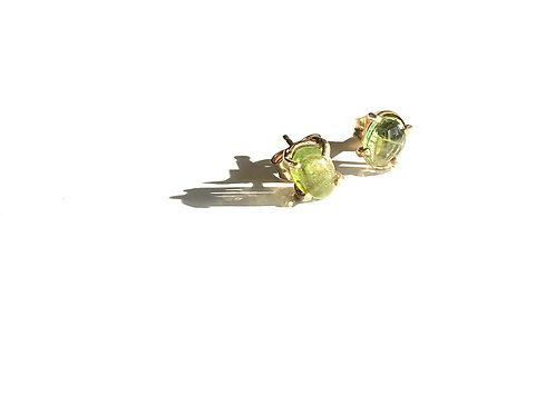 14K Yellow Gold 7X5mm Green Tourmaline Stud Earrings