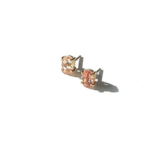 14k Yellow Gold 7X5mm Imperial Topaz Stud Earrings