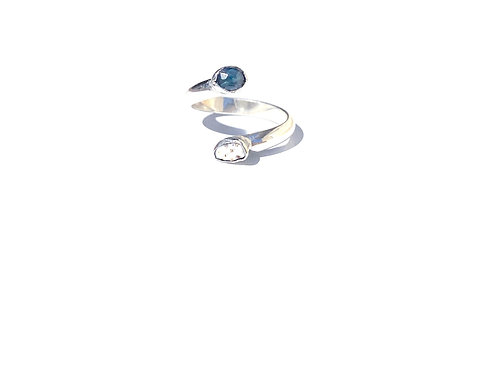 Sterling Silver Blue Tourmaline and Organic Shell Ring / adjustable size 6.5