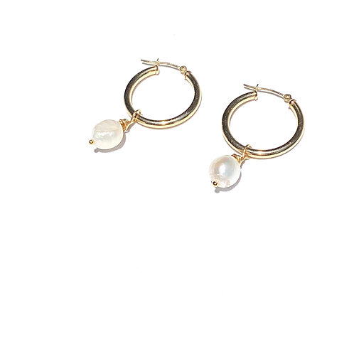 10k Yellow Gold Pearl Drop Hoops