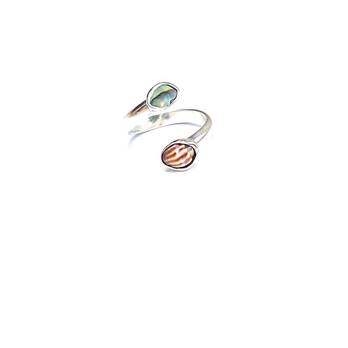 Sterling Silver Abalone and Shell Ring / adjustable size 6.5-7
