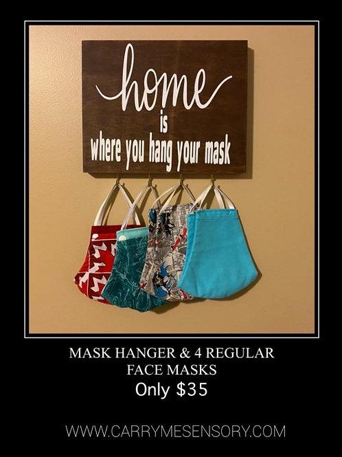 Face masks and mask hanger