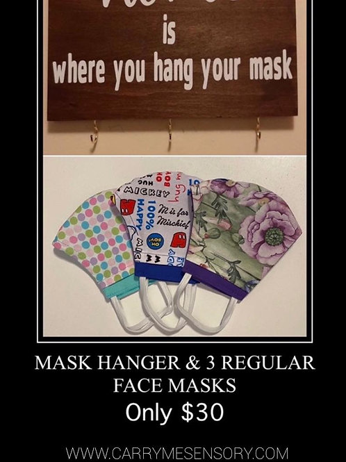 Face masks and mask hanger
