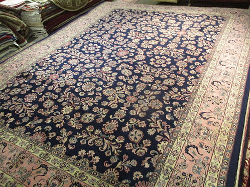 9' x 12' All-over Pattern Kashan 100% Wool Handmade-Knotted Rug