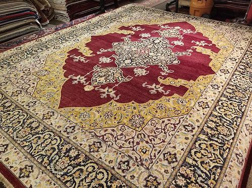 9' x 12' Fine Antique Tabriz Silk/Wool Handmade-Knotted Rug