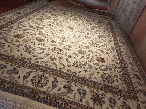 9' x 12' Intricate Persian Ivory 100% Wool Handmade-Knotted Rug