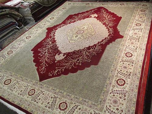 9' x 12' Fine Antique Kirman 100% Wool Handmade-Knotted Rug