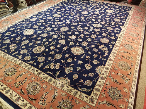 9' x 12' Fine Antique Kashan 100% Wool Handmade-Knotted Rug