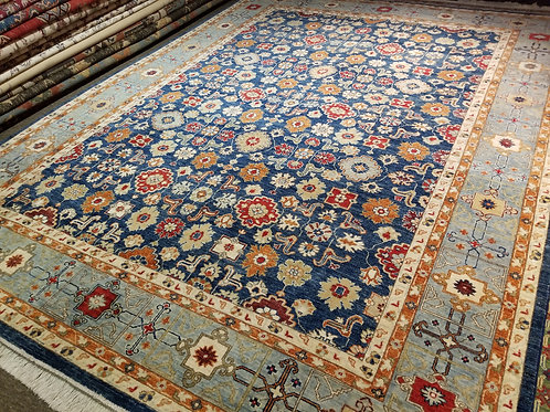 9' x 12' All-over Pattern 100% Wool Handmade-Knotted Rug