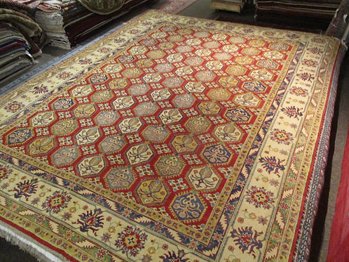 9' x 12' Tribal All-over Pattern  Kazak 100% Wool Handmade-Knotted Rug