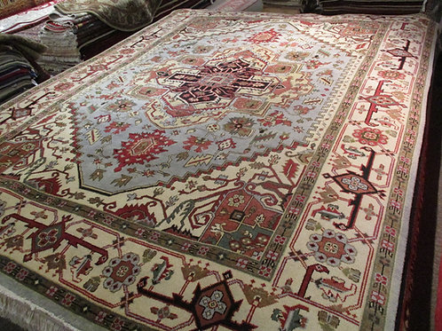 9' x 12' Heriz Serapi 100% Wool Handmade-Knotted Rug