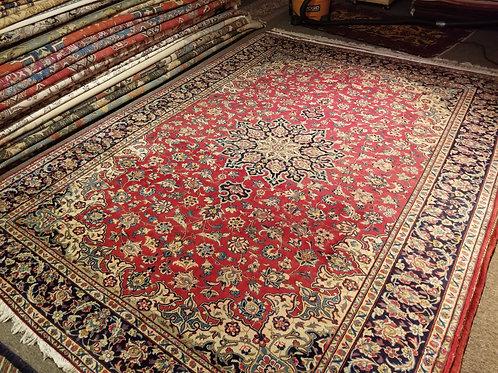 9' x 11' Persian Isfahan Circa 1960 100% Wool Handmade-Knotted Rug