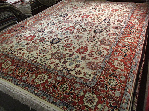 9' x 12' All-over Pattern Vegetable Colors 100% Wool Handmade-Knotted Rug