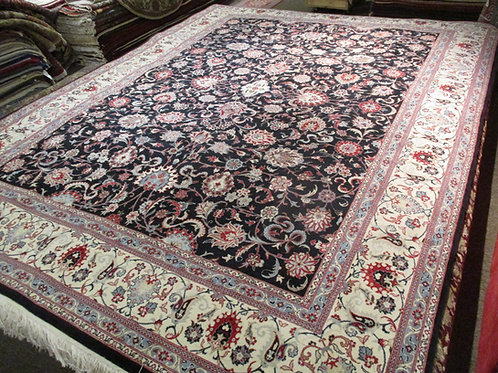 9' x 12' All-over Pattern Fine Antique Kashan 100% Wool Handmade-Knotted Rug