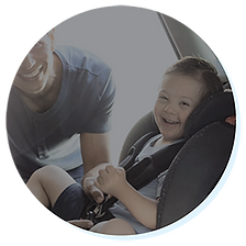 Down Syndrome Boy in car seat
