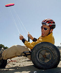 MAY THE WIND BLOW: Steve Gurney on his kite buggy he hopes to traverse the Sahara Desert with Craig Hansen.